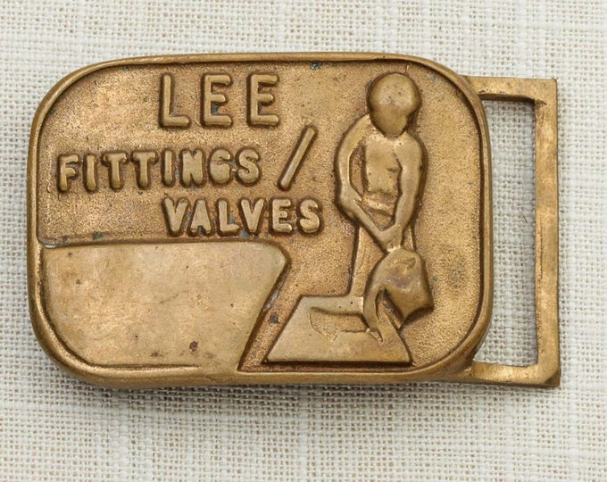 Antique Gold Toned Belt Buckle Lee Fittings Valves Vintage Belt Buckle 7F