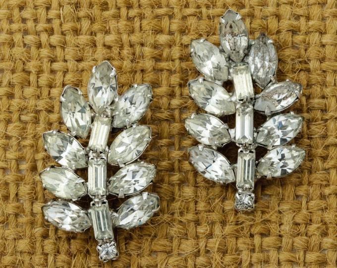 Leaf Earrings Vintage Stud Rhinestone Leaves Earrings Silver Tone Pierced Earings Studs   Vtg Pin 16B