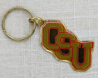 Vintage OSU Ohio State Buckeyes Gold Red Keychain Key FOB Key Chain Brass 7GG