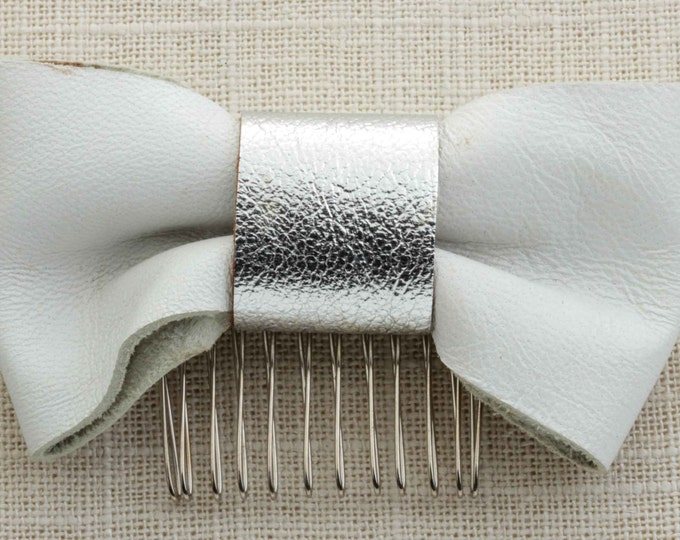 White Silver Bow Hair Clip Suede Leather Material Embellished Comb Handmade in USA Hair Pins 16V