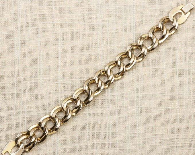 Vintage Bracelet Double Links Shiny Gold Chain Costume Jewelry 7J