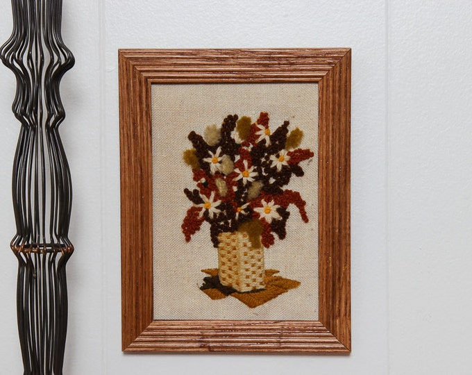 Fall Flowers Framed Needlepoint | Orange and Brown Autumn Basket Daisies | 7x8.5 | Vintage Kitsch Cross-Stich Embroidery Frame Wall Art