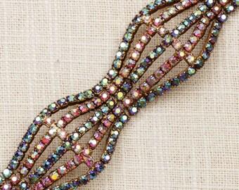 Vintage Bracelet AB Iridescent Gold Link Multi Strand Pink Purple Blue Costume Jewelry 7J