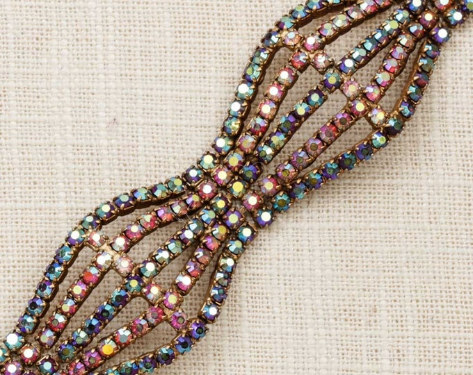Vintage Bracelet AB Iridescent Gold Link Multi Strand Pink Purple Blue Costume Jewelry 7J