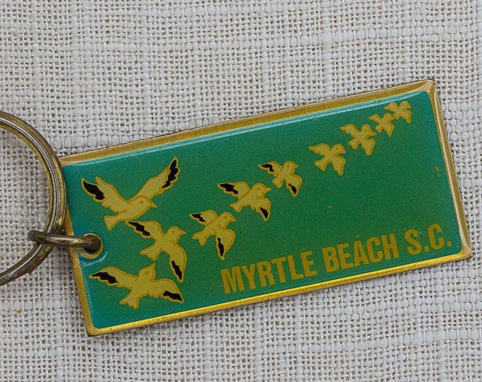 Myrtle Beach South Carolina Vintage Keychain Flying Birds Blue S.C. Key FOB Brass Key Chain 7FF