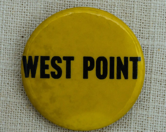 West Point Button Vintage Yellow Military Pin-Back Button 7QQ