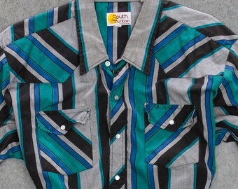 Striped Green and Blue Men's Shirt Vintage Size XXL Button Down Top Mens Black Gray Short Sleeve Pearlized Snaps Light Weight 7W