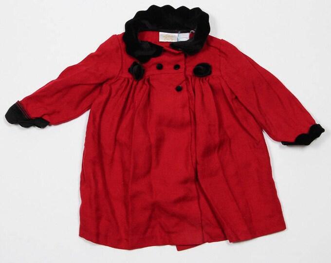 Vintage Toddler Jacket | Toddler 2T 24 Months Vintage Girls Rose Red Jacket | Red & Black Velvet | 4DD