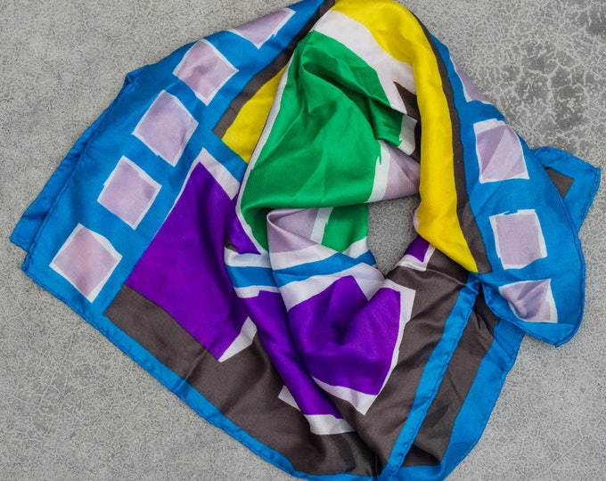 Bright Silk Scarf Vintage 1960s Multicolor Blue Green Yellow Purple Gray Square Geometric Pinup Scarf 7NH