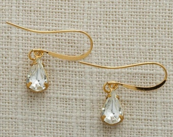Crystal & Gold Tear Drop Earrings French Hook Diamond Clear Rhinestone Wedding Earrings Bridesmaid Gift Handmade 10mm 6H