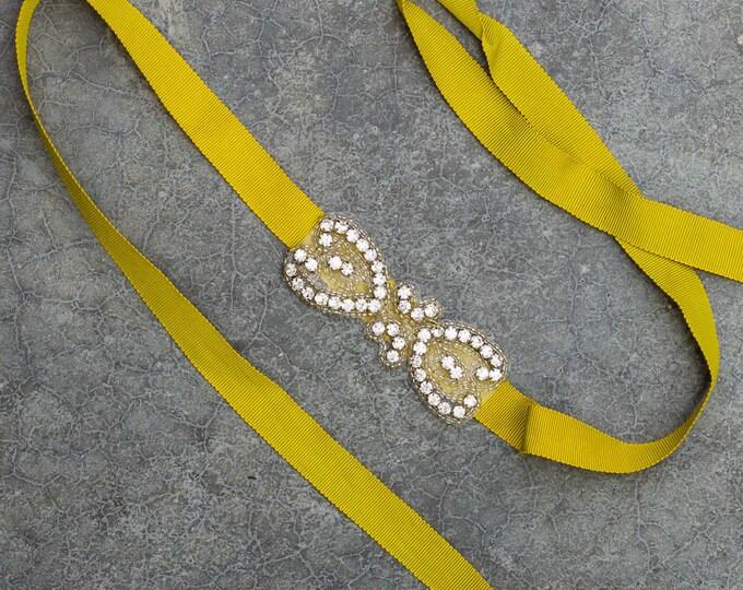 Lime Green Grosgrain Skinny Ribbon Belt Double Heart Rhinestone Applique Art Deco Handmade Colorful Sparkly 265