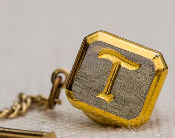 Letter T Tie Tack Gold Lapel Pin Tie Clip Vintage Men's Accessory 7WW