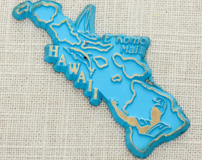 "Hawaii Vintage State Magnet | Blue and Gold Travel Souvenir Tourism Summer Vacation Memento | USA America Fridge | ""E Komo Mai!"" 5S"