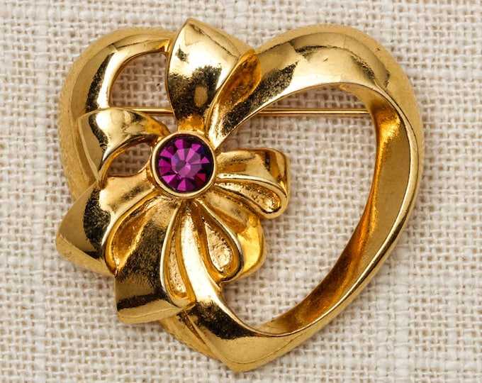 Heart and Bow Brooch Vintage Gold Avon Purple Rhinestone Broach Vtg Pin 7T