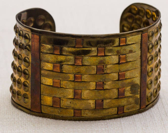 Gold and Copper Metal Basket Weave Polka Dots Intricate Vintage Bracelet Bangle Costume Jewelry Cuff 7AR
