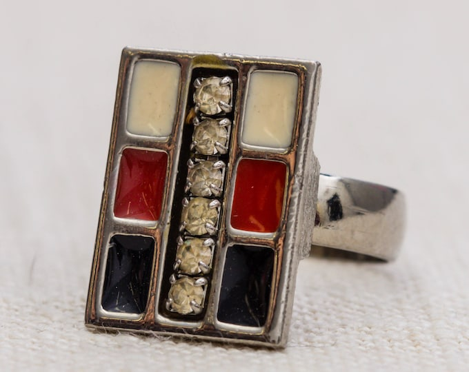 White Red and Black Ring Silver Vintage Rectangular Enamel Rhinestones Statement Adjustable 7RI
