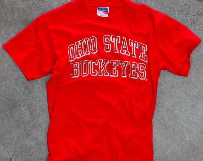 Vintage Ohio State Tee Shirt Vintage Buckeye T-Shirt 1990s Red Scarlet and Gray OSU Vintage T Shirt SMALL OSU Buckeyes Vintage Fan Gear 7W