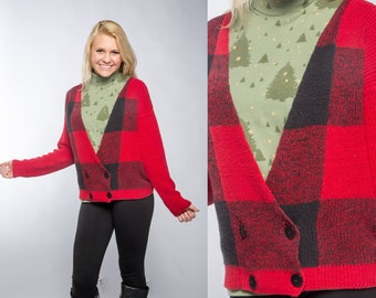 """Vintage Plaid Lumberjack Sweater & Christmas Tree Turtleneck 