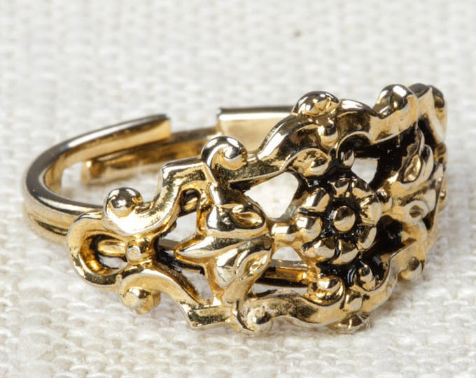 Gold Floral Vintage Ring Adjustable Womens Size Simple 7RI
