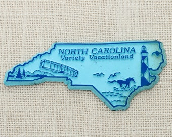 Vintage North Carolina Silhouette State Magnet Outer Banks OBX Lighthouse Charlotte Raleigh Travel Summer Vacation Memento USA America 5S