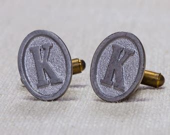 "K Cuff Links Vintage Cufflinks Letter ""K"" Initial Monogram 1960s Groom Accessory Mens Simple Classic Silver Oval Tuxedo 7UU"