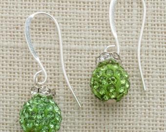 Green Rhinestone Silver Peridot Earring French Hooks Handcrafted 6H