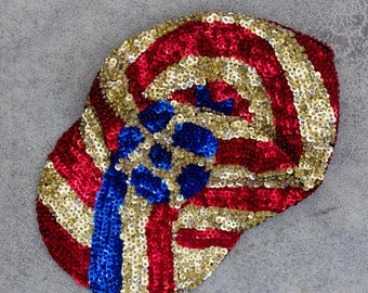 Vintage Sequin Hat Red White & Blue Star Trucker Style Baseball Cap Patriotic USA 7ZZ