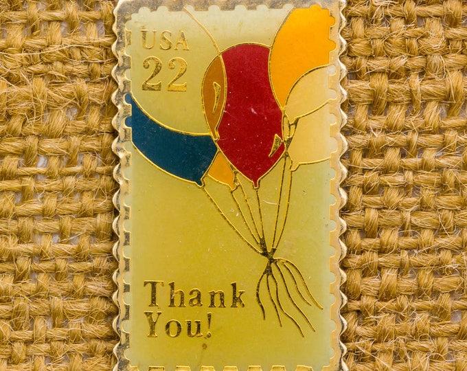 USPS Enamel Stamp Vintage Lapel Pin Balloons Thank You USA 22 Cents 1987 Button Vtg Pin 7AN