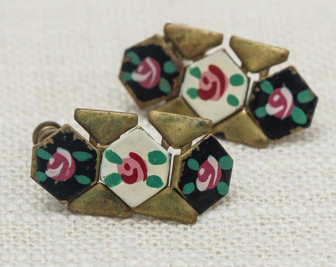 Vintage Earrings Clip On Gold Enamel Pink Flower Black White Flexible Dangling Clipons Vtg 7LL