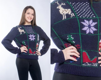 Blue Vintage Christmas Sweater MEDIUM | Winter Pullover Holiday Pattern Hand Knit Snowflake Sweater Navy Blue Purple Xmas Shirt Holiday 7CJ