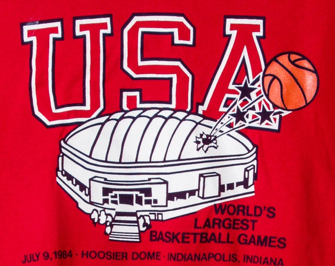 1984 Vintage Basketball T Shirt Small Red Indianapolis Tee Indy Indiana Basketball Hoosier Dome Red Sports Tee Shirt Mens Womens Midwest 5AA