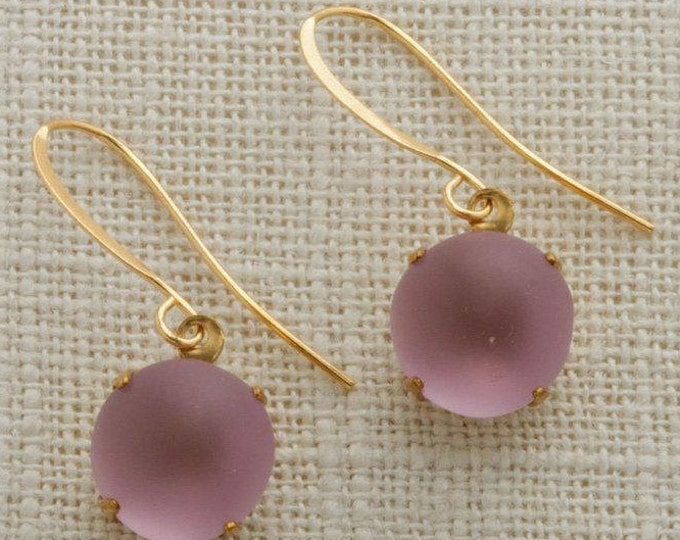 Blush Pink & Gold Gold French Hook Earrings Matte Paste Frosty Stone Dangle Wedding Earrings Bridesmaid Gift Handcrafted 11mm 6H