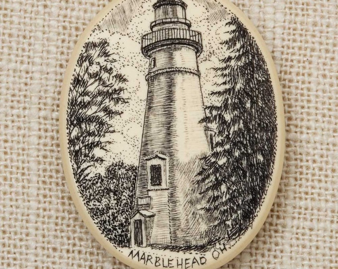 Marblehead Ohio Brooch Vintage Lighthouse Etched Drawing Oval Broach Lake Erie North Shore Lakeside Summer Vacation Putin Bay Area Pin 6Y