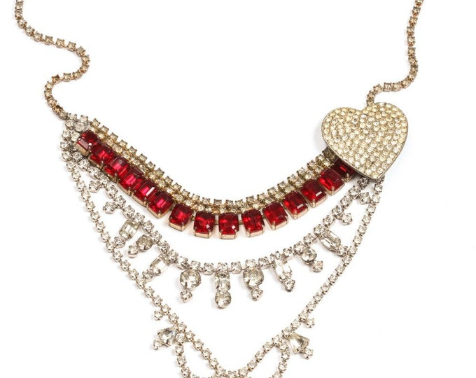 Red Rhinestone Handmade Statement Necklace w/ Heart Accent - Vintage Components Hand Soldered 1000138