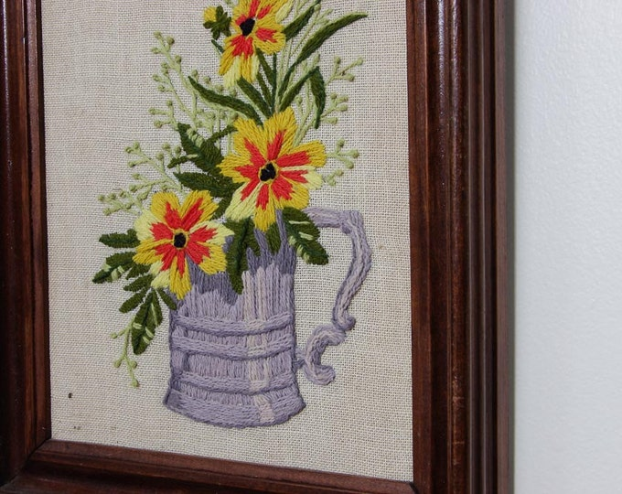 Flower Pot Framed Needlepoint | Yellow and Orange Tin w/ Green Leaves Decor | 10.5x12 | Vintage Kitsch Cross-Stich Embroidery Frame Wall Art