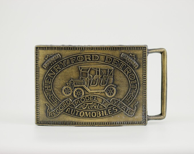 Ford Vintage Belt Buckle - Detroit USA Model T Henry - Best Quality Near Mint Vintage Car Guy Automotive Gift Michigan Antique Classic BB13