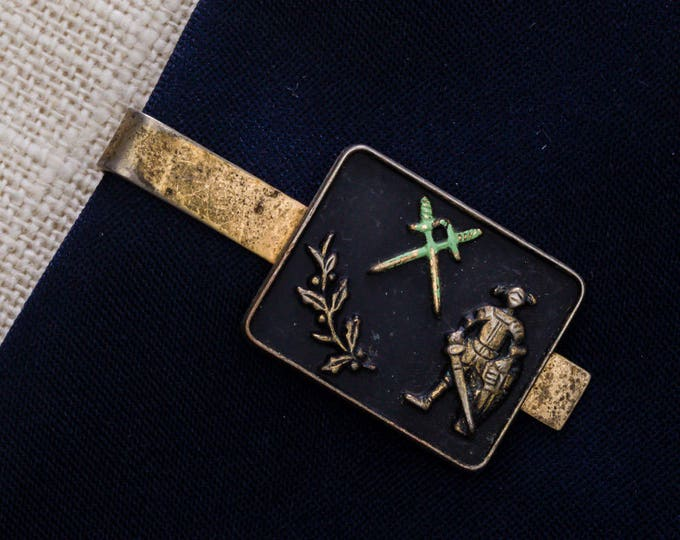 Knight in Armor Tie Clip Vintage Crossed Swords Gold Black Green Fantasy Dragons Men's Accessories Add On 7WW