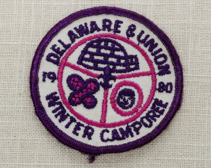 Delaware and Union 1980 Patch | Winter Camporee Vintage Iron On (Or Sew On) Patch - Purple Pink Igloo Snow Shoes - Boy Scouts of America