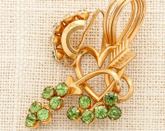 Gold and Green Brooch Vintage Peridot Rhinestone Heart Arrow Quiver Cupid Pendant Broach Costume Jewelry Pin 6Y