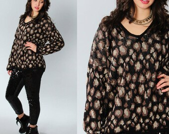 1990s Vintage Black Brown Polka Dot Animal Print Sweater | Leopard Print Oversized Large 5BB