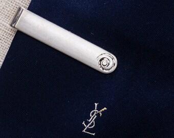 Silver Swirl Tie Clip Vintage Swank Rhinestone Rounded Simple Men's Accessories Add On 7WW