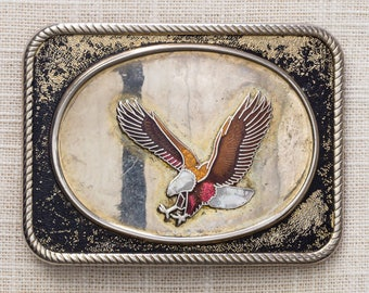 Eagle Belt Buckle Shiny Enamel Square Oval Center Vintage Belt Buckle 7MM
