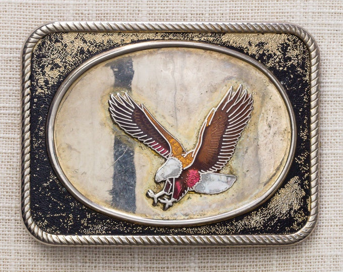 Eagle Belt Buckle Shiny Enamel Square Oval Center Vintage Belt Buckle 7MM