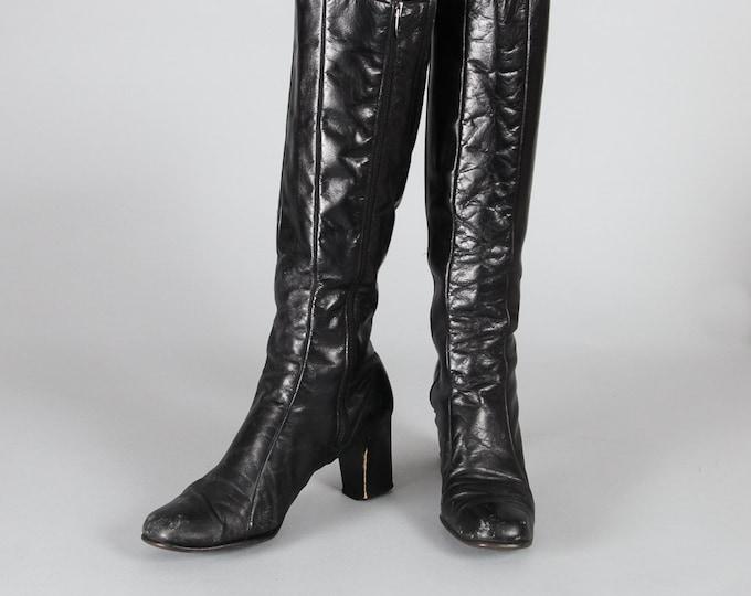 "Black Leather Boots   Mid Heel   Square Toe   2 3/4"" Heel   15 1/2"" Calf   Side Zipper Tall Heeled Black Classic Basic Neutral Fall Boot"