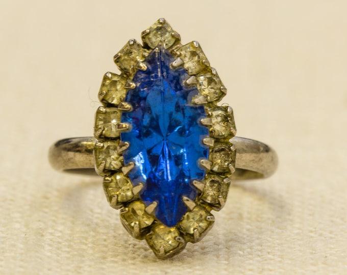 Cobalt Marquise Rhinestone Vintage Ring Silver Blue Adjustable Size 7RI