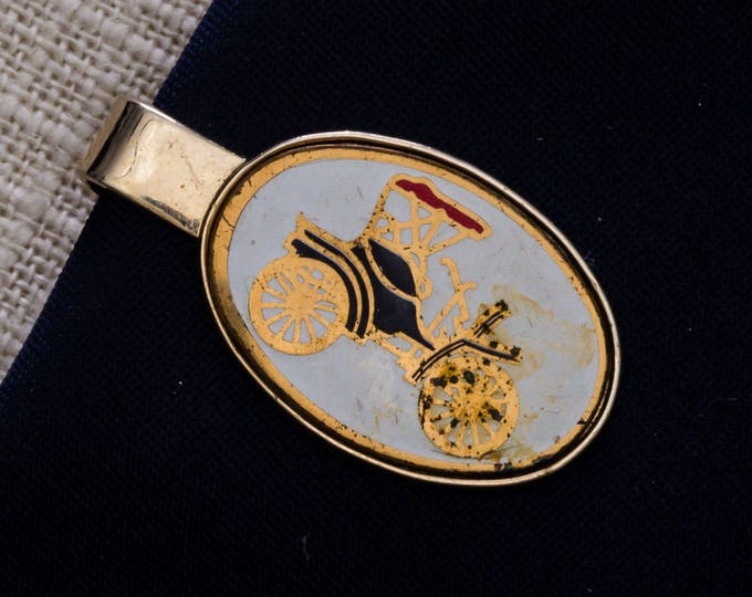 Antique Car Tie Clip Vintage Gold Red White Oval Automobile Image Men's Accessories Add On 7WW