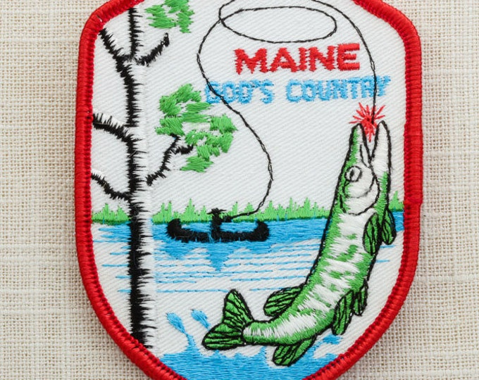 Maine God's Country Fishing Vintage Patch Unused For Backpack Jeans Hat Bag 7A