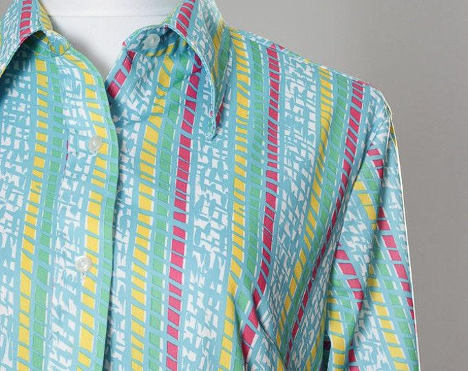 Large Vintage 1970s Shirt Size 38 Women's Striped Blouse 4BB