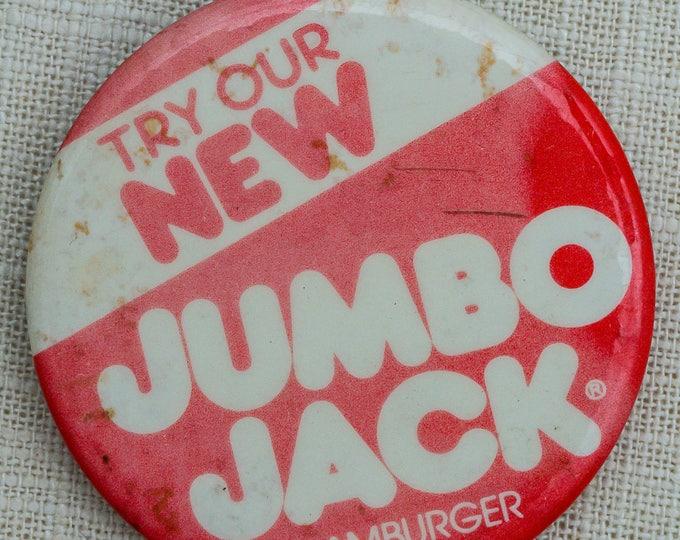 Vintage Jack In The Box Button Jumbo Jack Hamburger Pin-Back Pin 7QQ