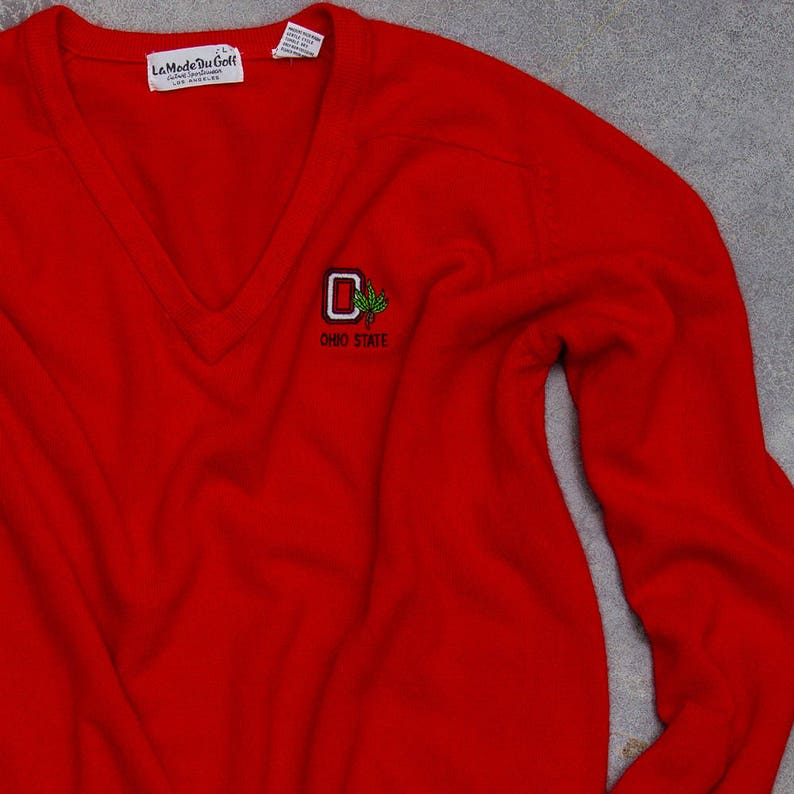 Vintage Ohio State Sweater Super Soft Bright Red Scarlet Neck image 0